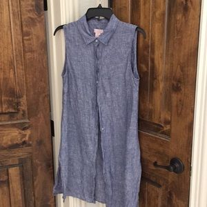 Chambray sleeveless button down